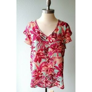 Lily White Large Pink Floral Chiffon Top Shirt